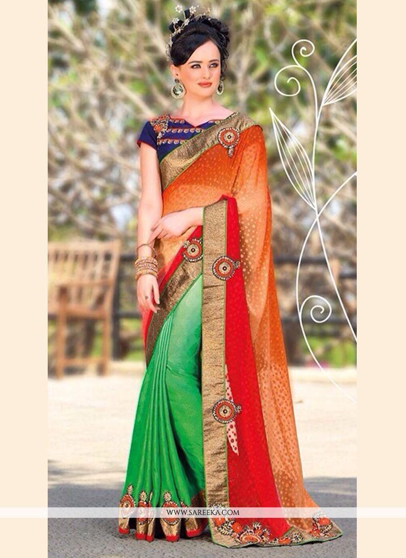 Orange And Green Jacquard Designer Saree