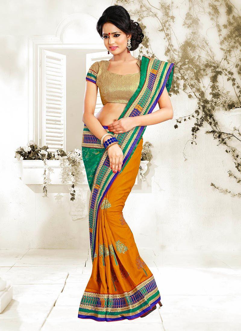 Orange And Green Manipuri Silk Half And Half Saree