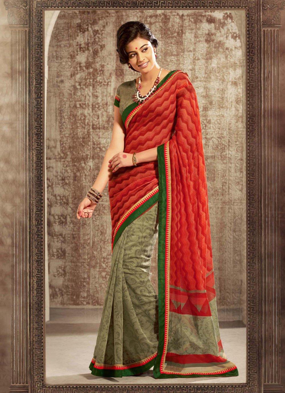 Orange And Green Printed Saree