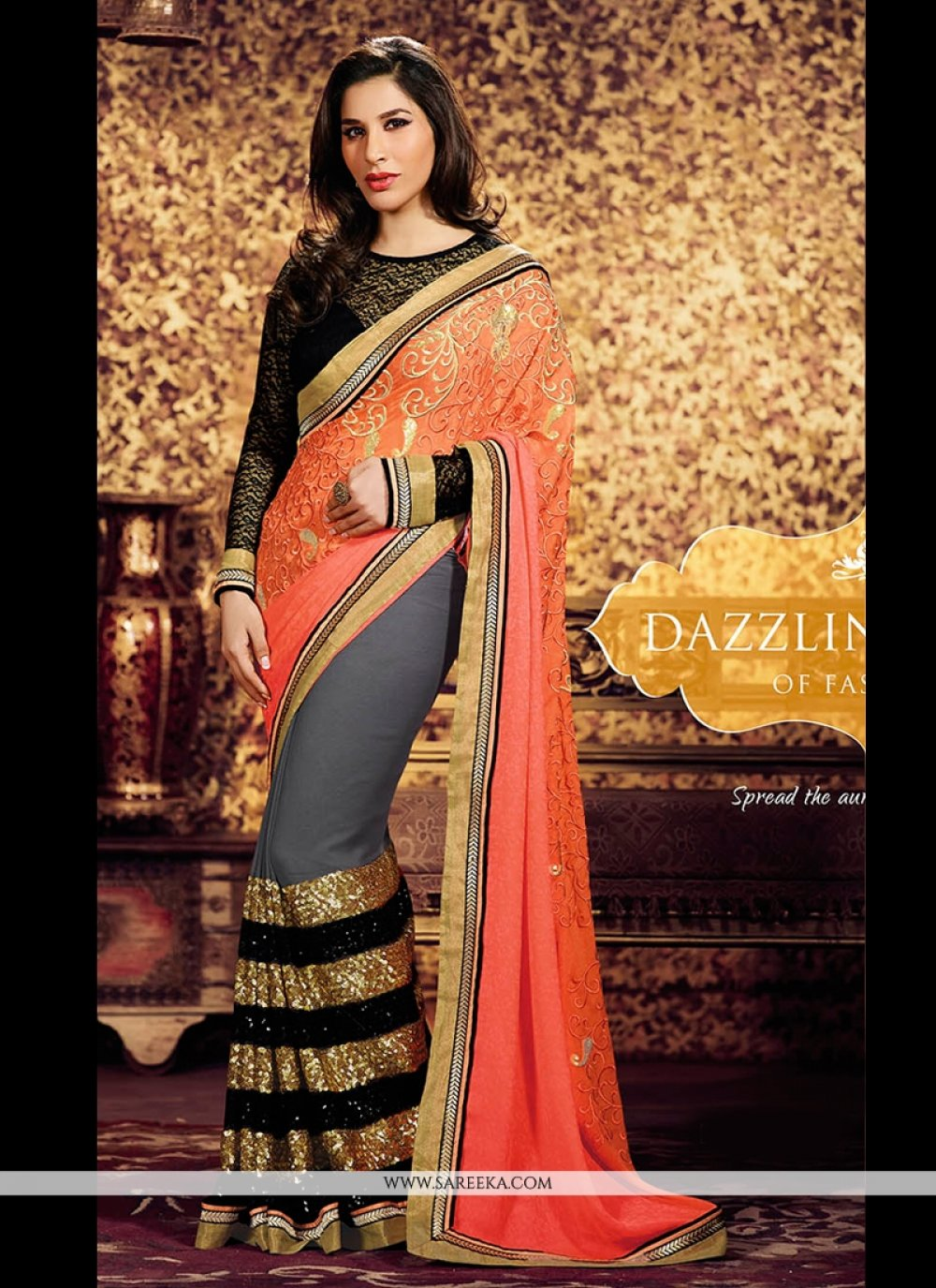 Orange And Grey Weight Less And Georgette Saree