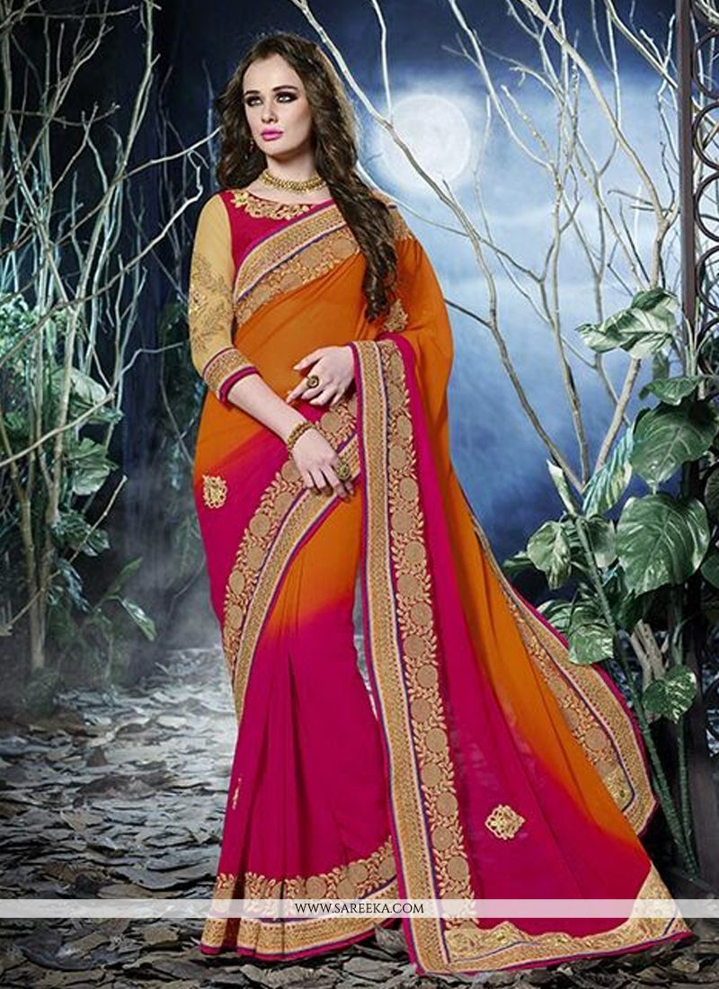 Orange And Hot Pink Shaded Georgette Saree
