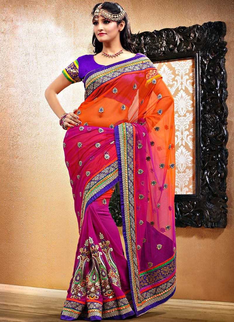 Orange And Magenta Net And Georgette Saree
