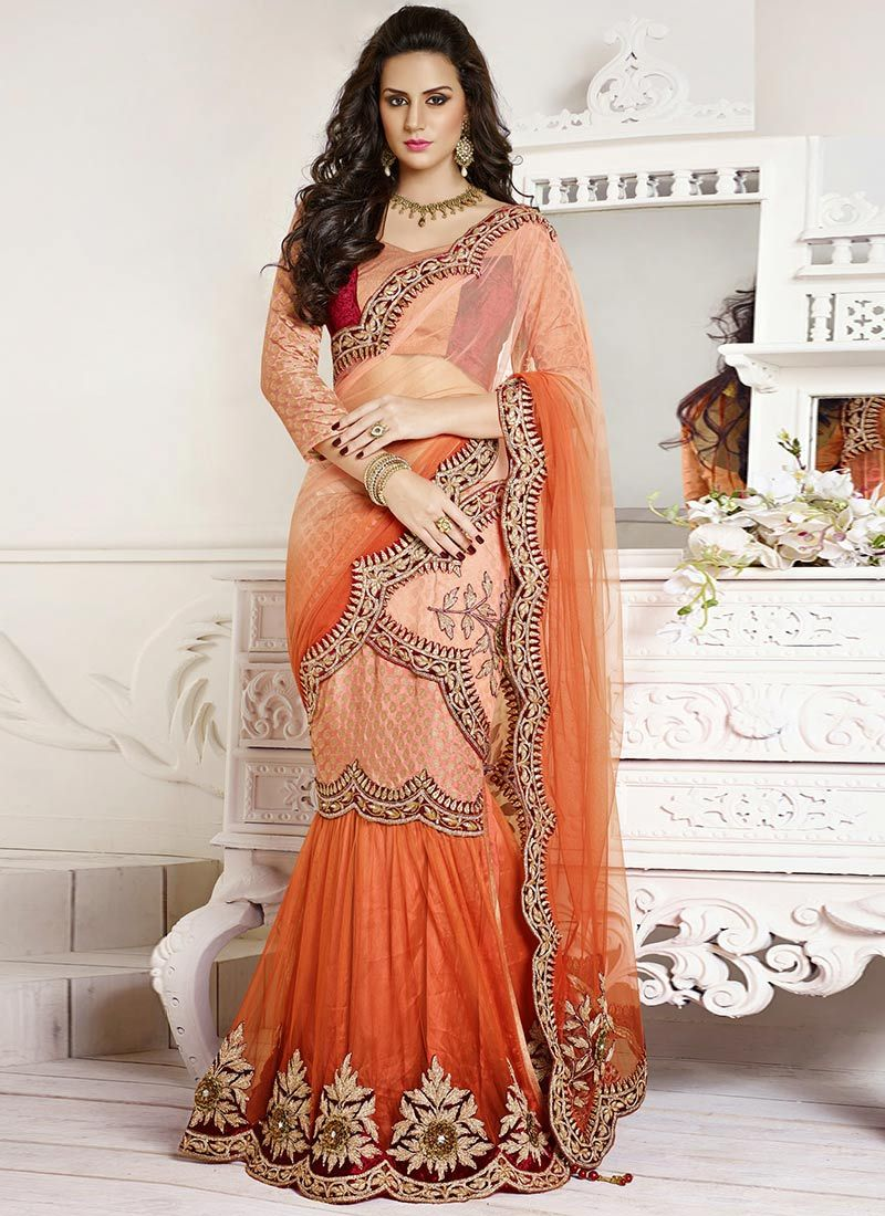 Orange And Peach Net Lehenga Saree