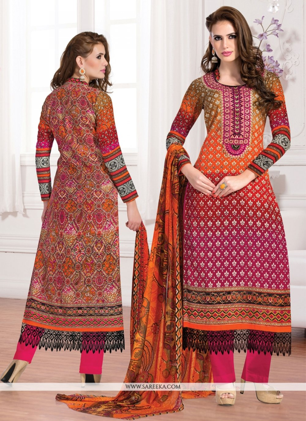Orange And Pink Cotton Pant Style Salwar Suit