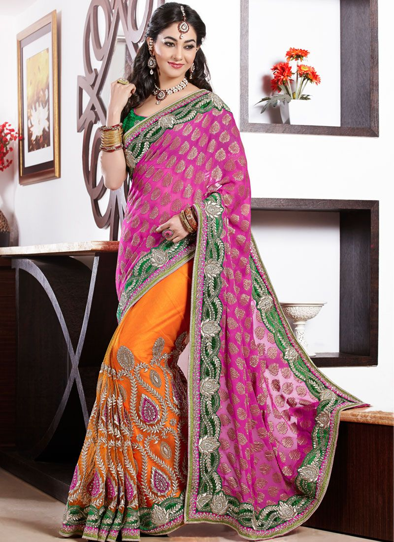 Orange And Pink Embroidery Work Georgette Designer Saree
