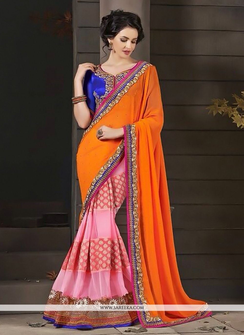 Orange And Pink Georgette And Net Designer Saree