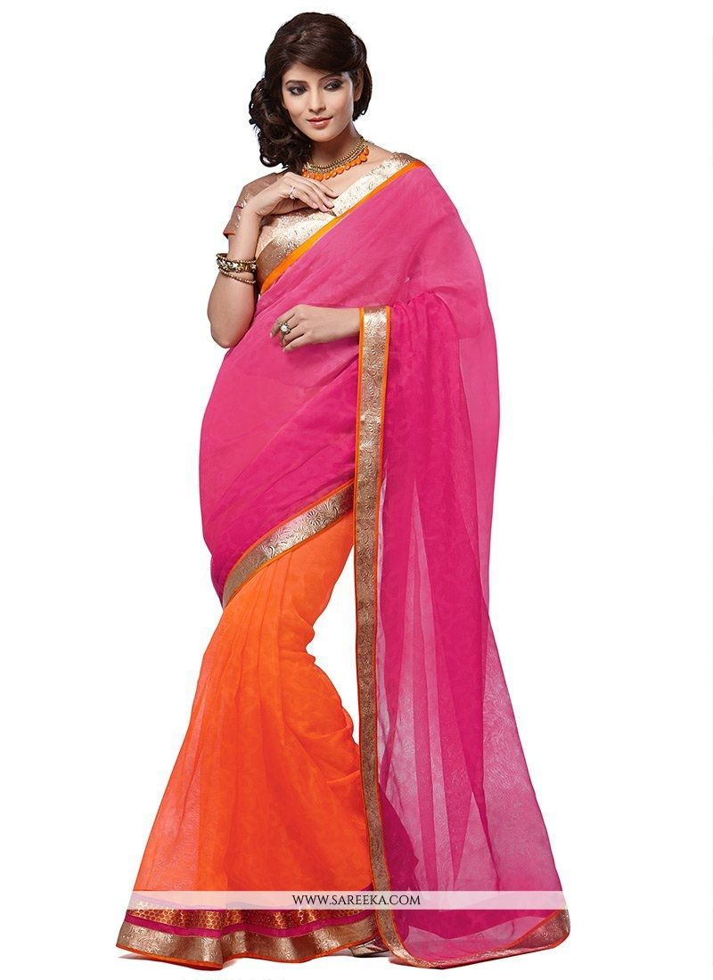 Orange And Pink Manipuri Silk And Net Saree
