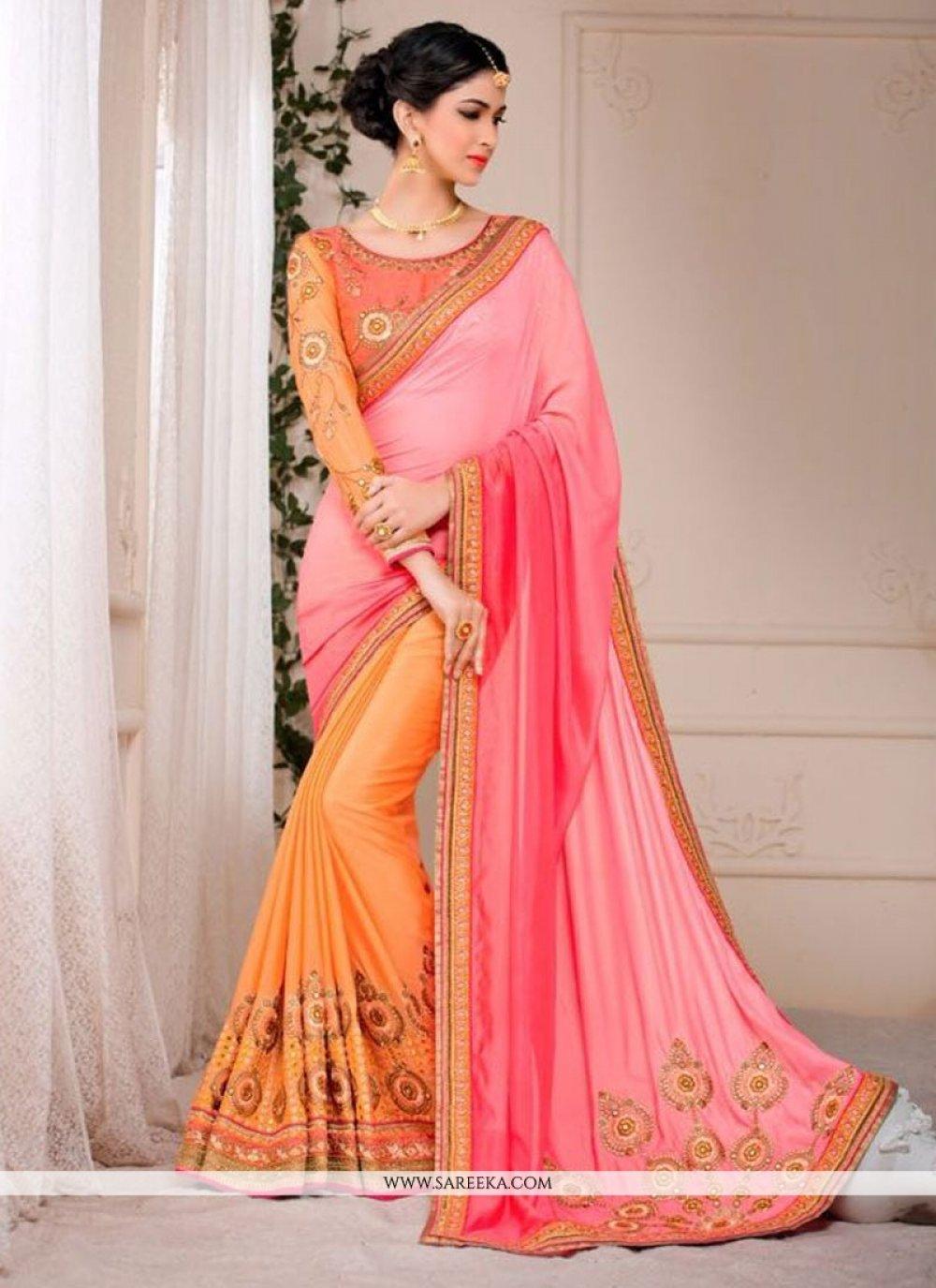Orange and Pink Patch Border Work Faux Chiffon Designer Saree