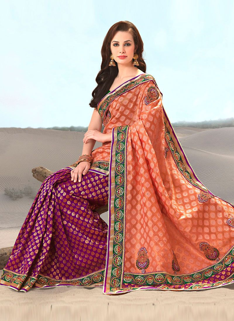 Orange and Purple Brocade Embroidered Saree