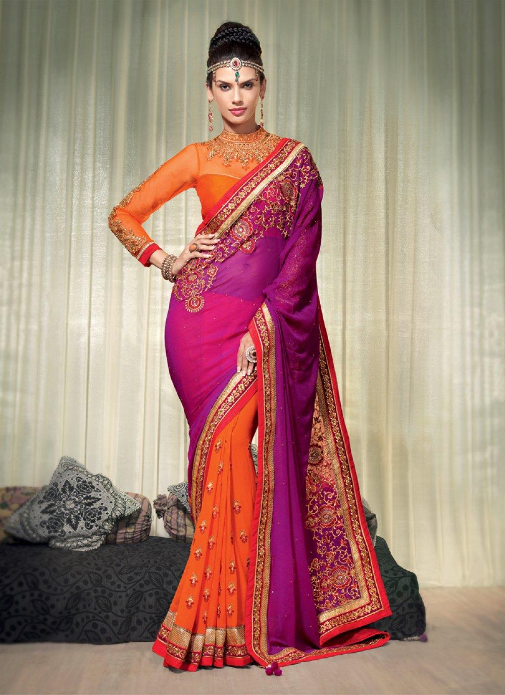 Orange And Purple Embroidery Designer Saree