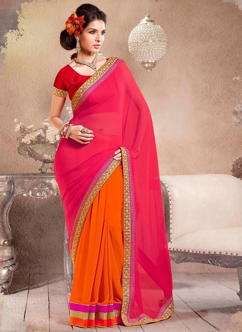 Orange And Red Half And Half Saree