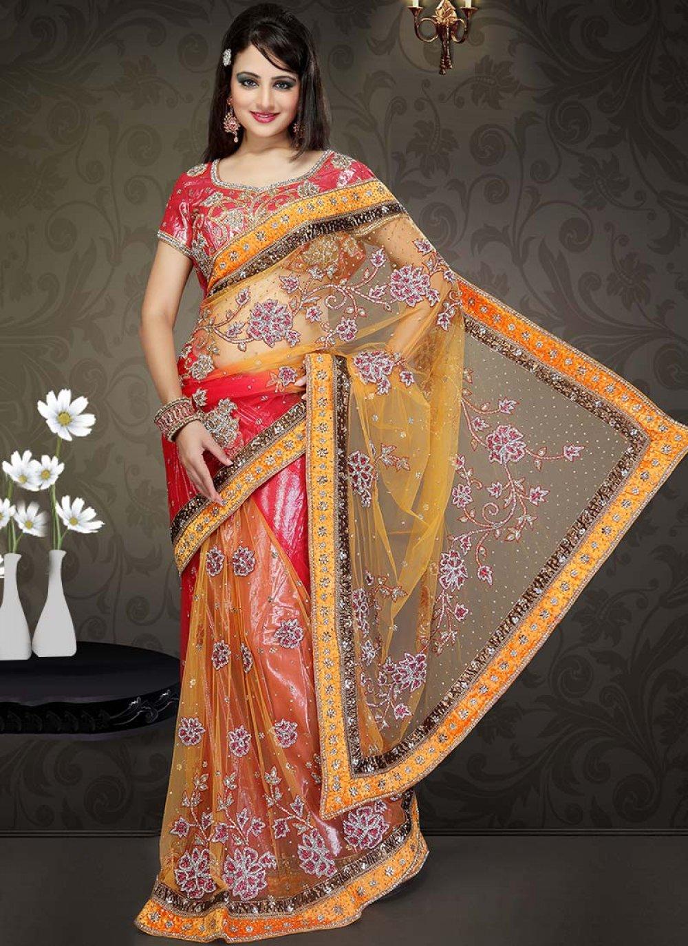 Orange And Red Net Lehenga Style Saree