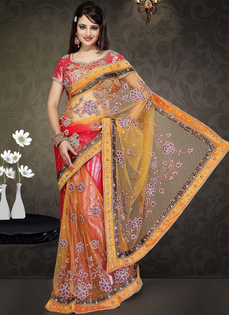 Orange And Red Net Lehenga Style Saree