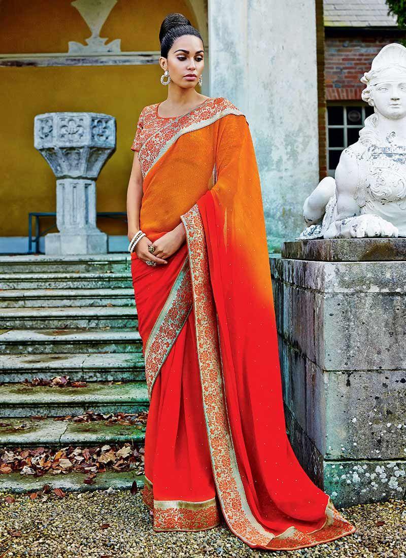 Orange And Red Shaded Chiffon Saree