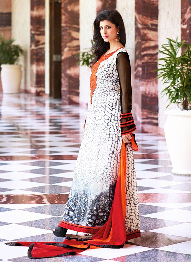 Orange And White Resham Work Georgette Churidar Suit