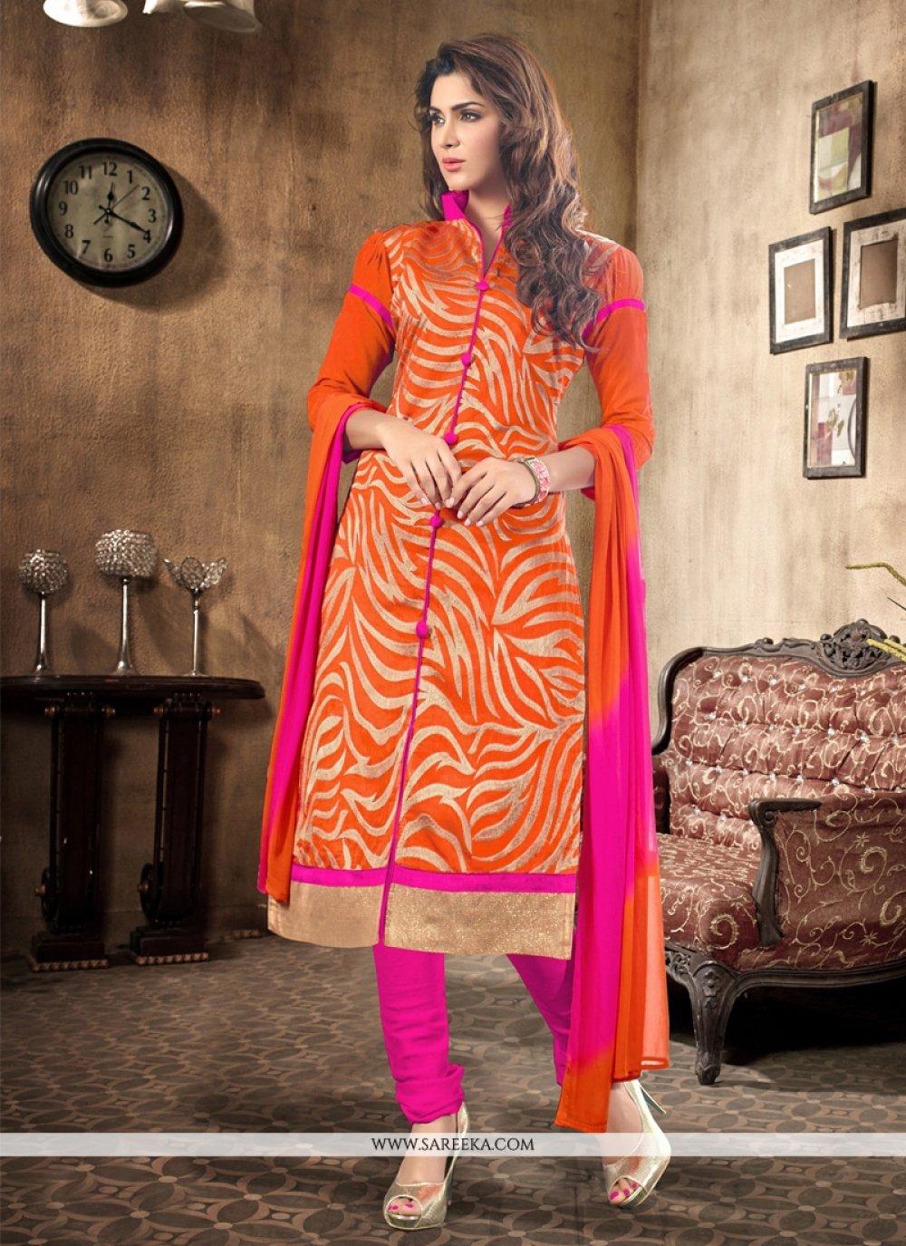 Orange Chanderi Churidar Salwar Suit