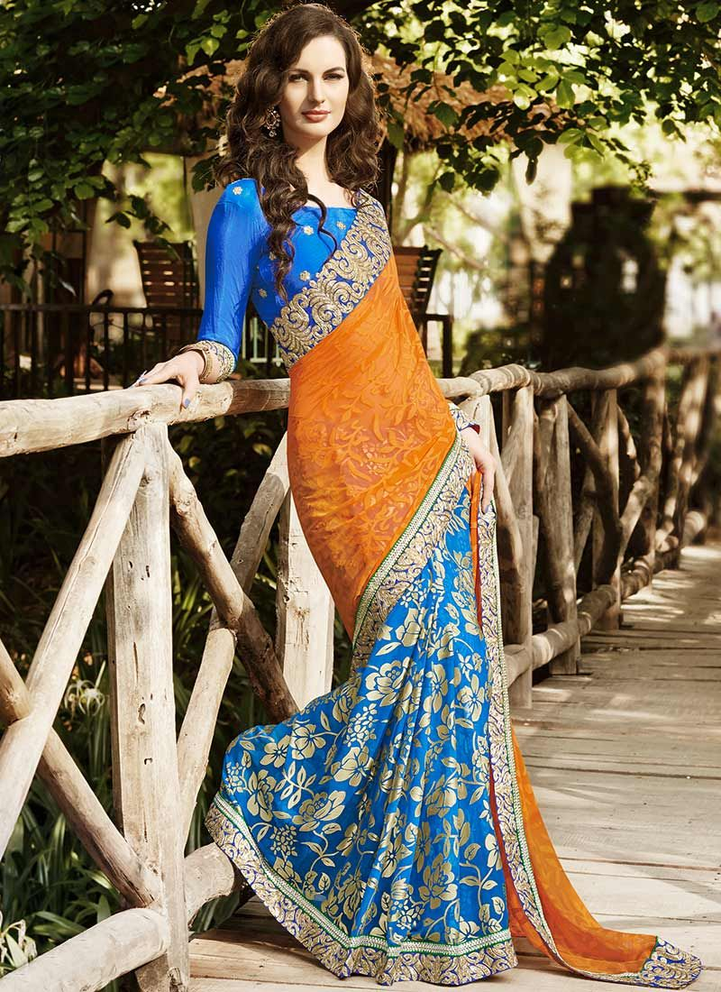 Orange Patch Border Brasso Flower Print Saree
