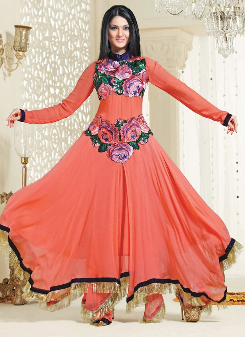 Orange Patch Border Floor Length Anarkali Suit