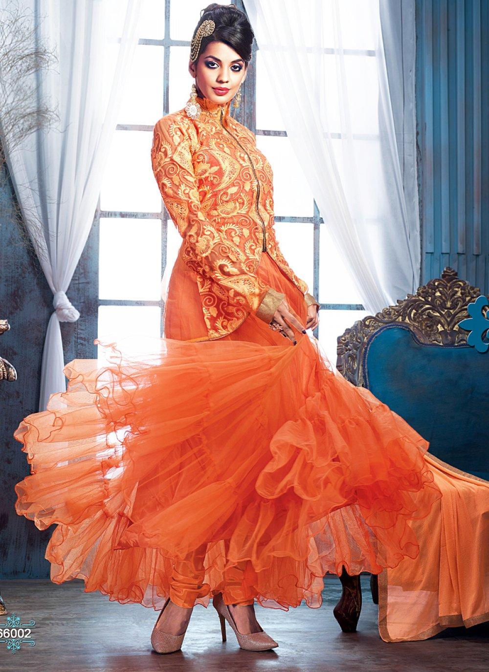 Orange Resham Work Net Anarkali Salwar Suit