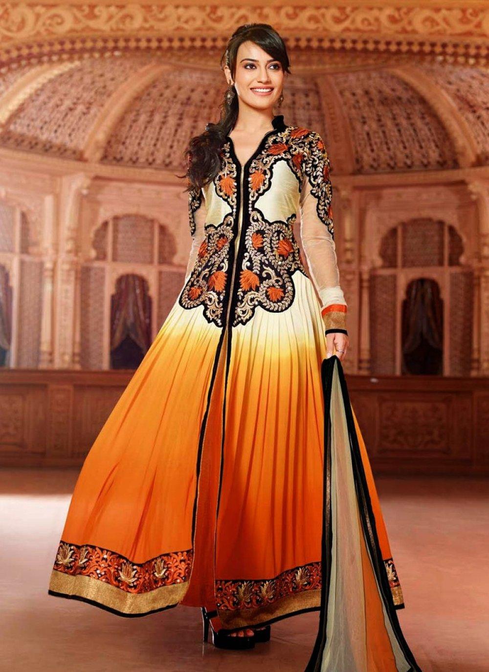 Orange Resham Work Net Anarkali Suit
