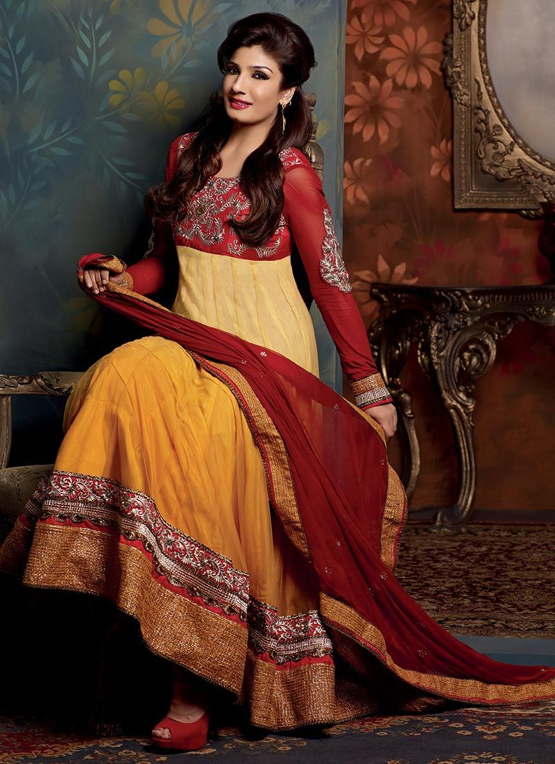 Orange Shaded Net Churidar Suit