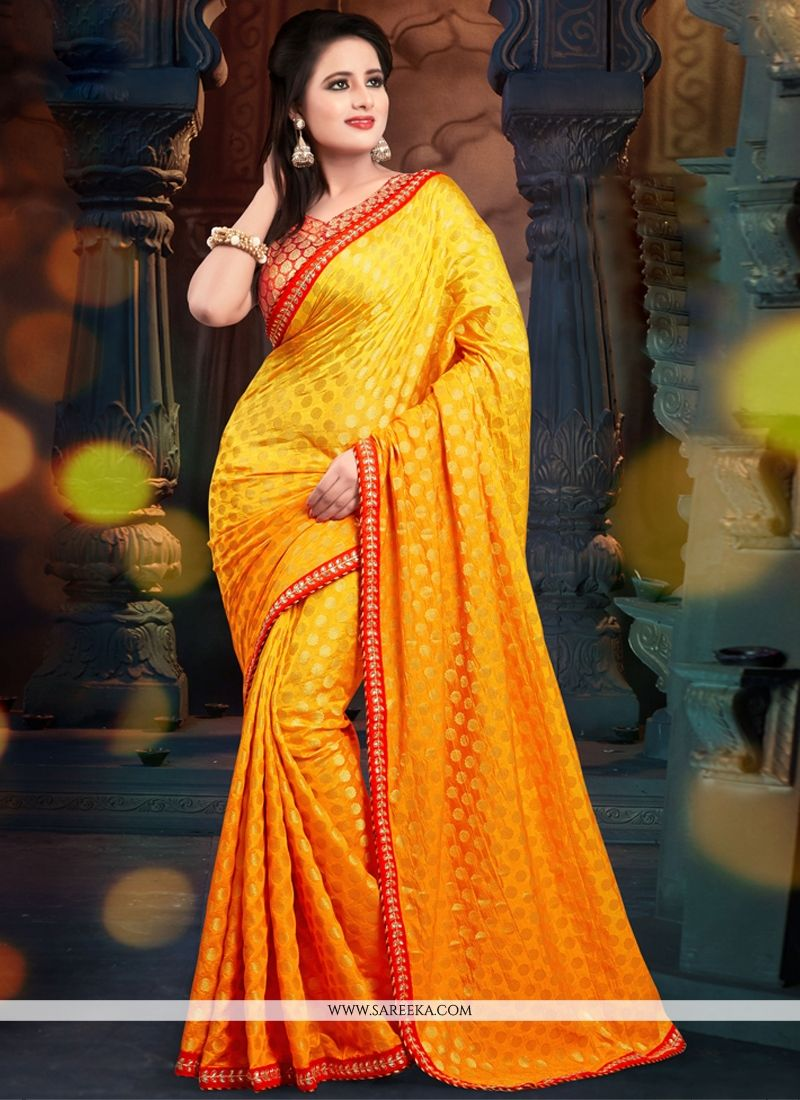 Orange Shaded Viscose Casual Saree