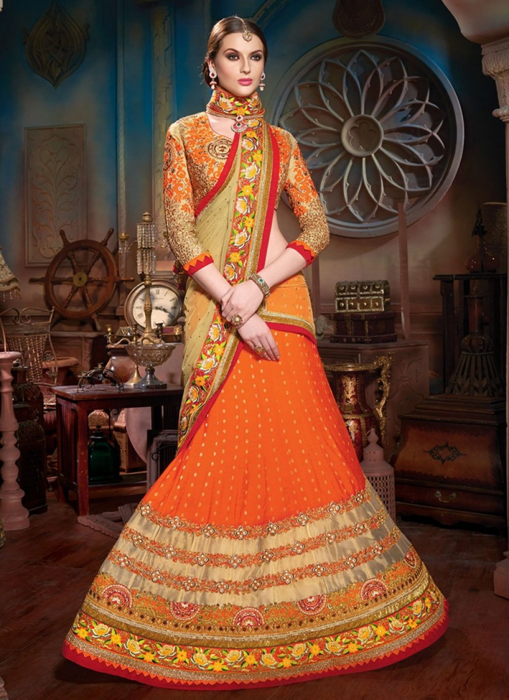 Orange Viscose Designer Lehenga Choli