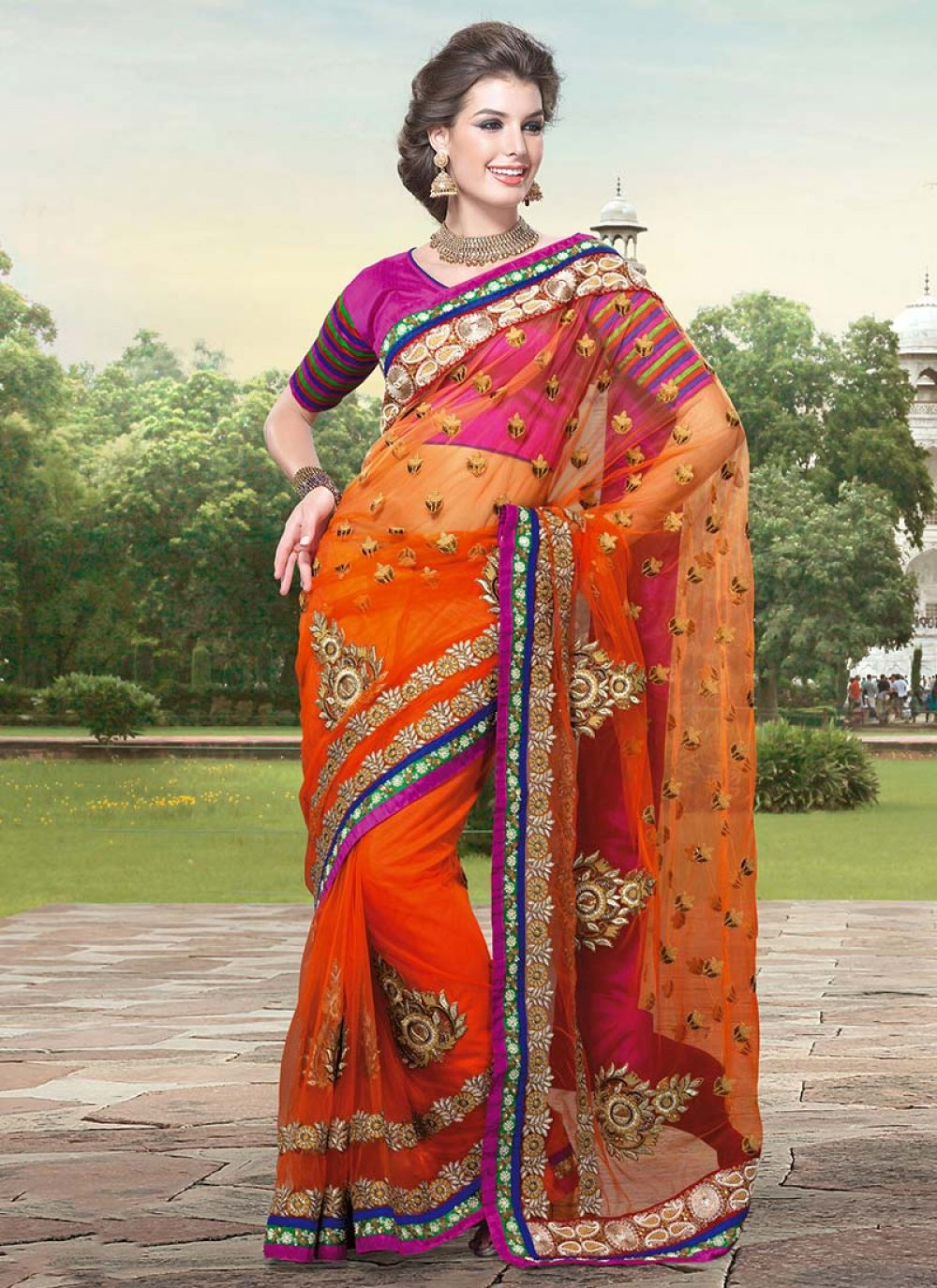 Orange Zari Embroidered Net Saree