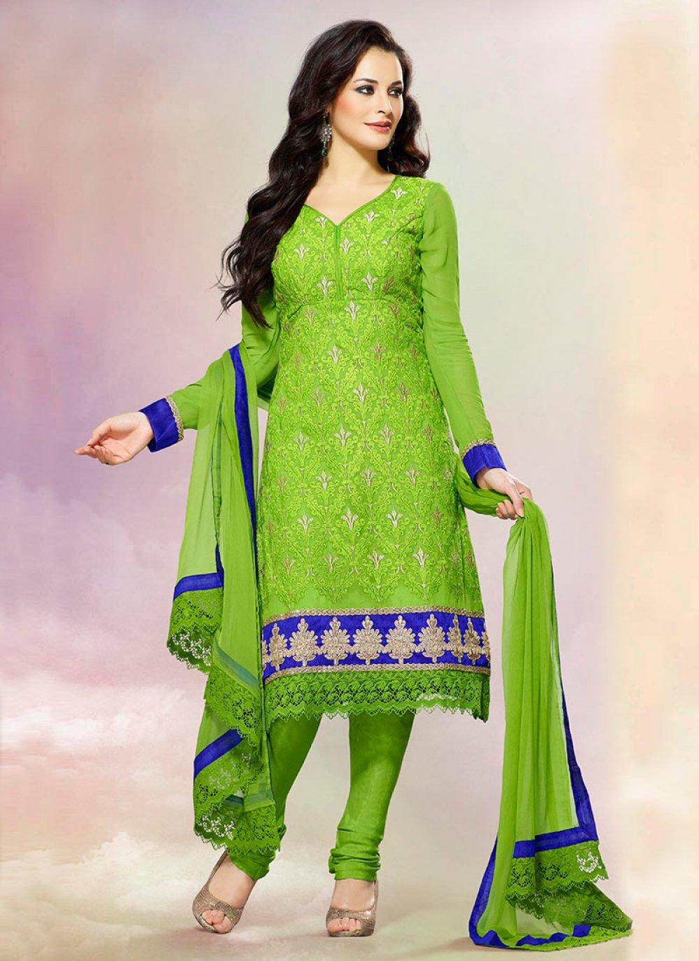 Ornamental Green Georgette Churidar Suit