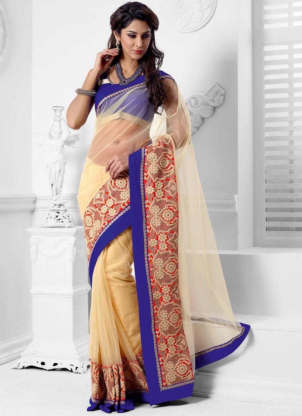 Ornate Cream Net Designer Saree