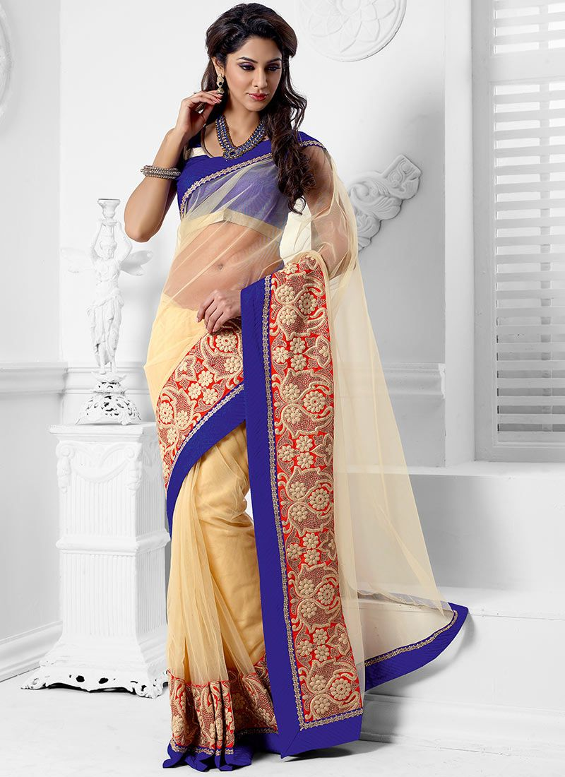 Ornate Cream Net Designer Saree