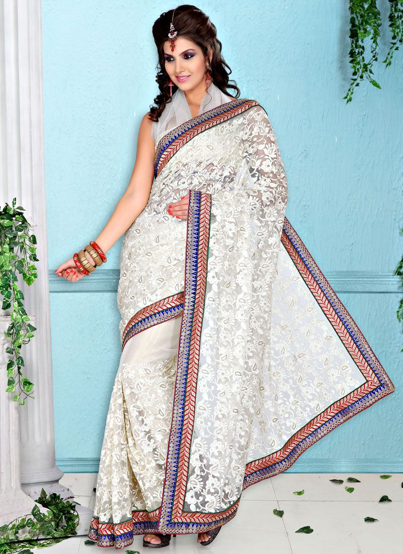Ornate Off White Net Saree