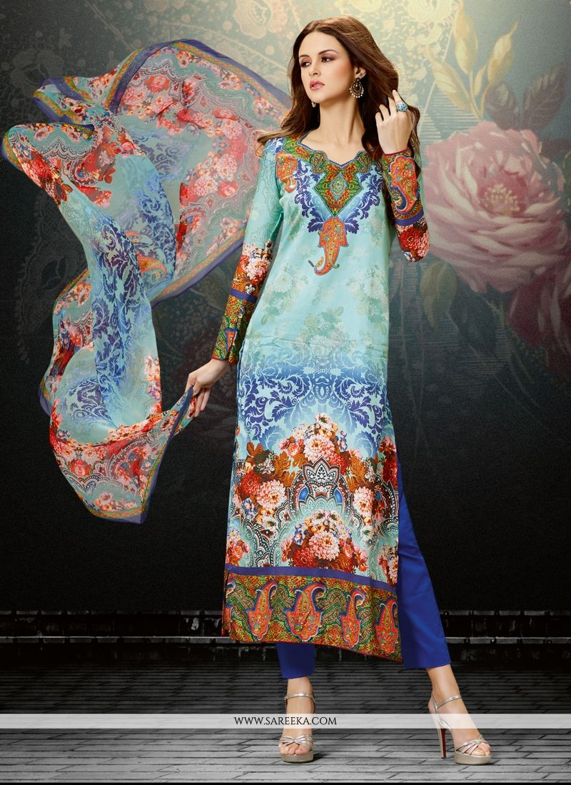 Cotton Satin Digital Print Work Designer Straight Salwar Suit