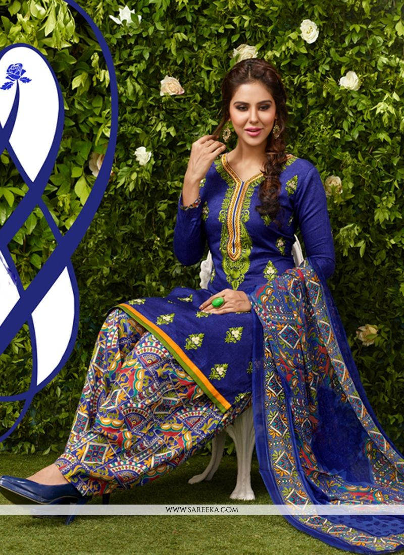 Embroidered Work Glessh Blue Designer Patiala Suit