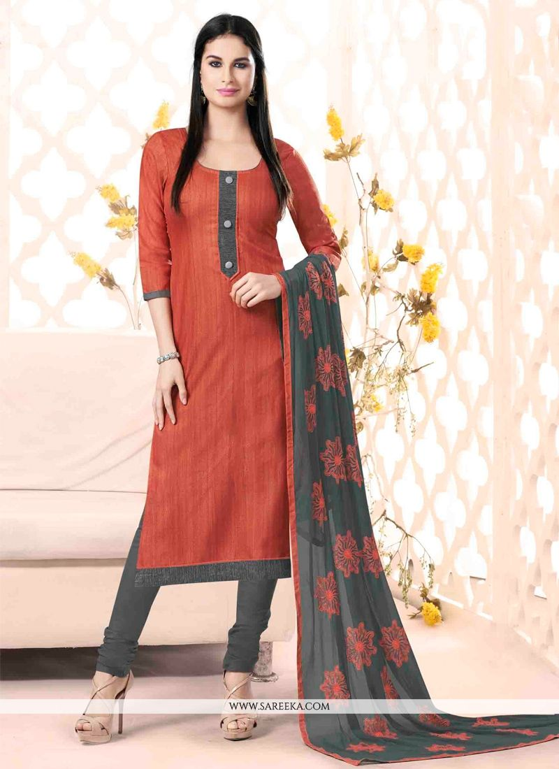 Lace Work Rust Churidar Salwar Kameez