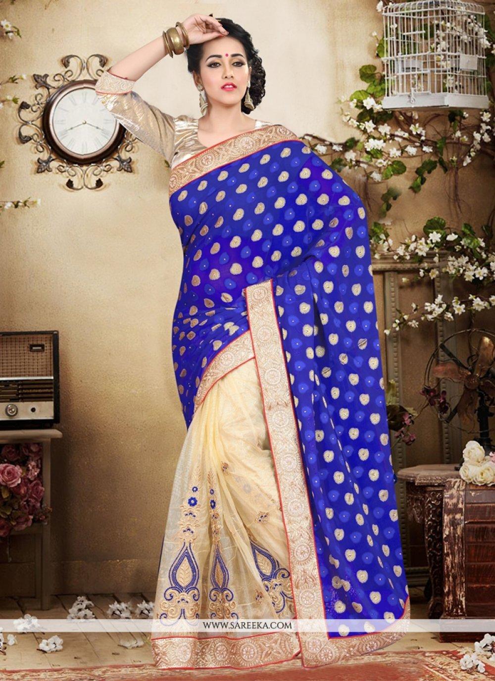 Patch Border Work Blue Designer Saree