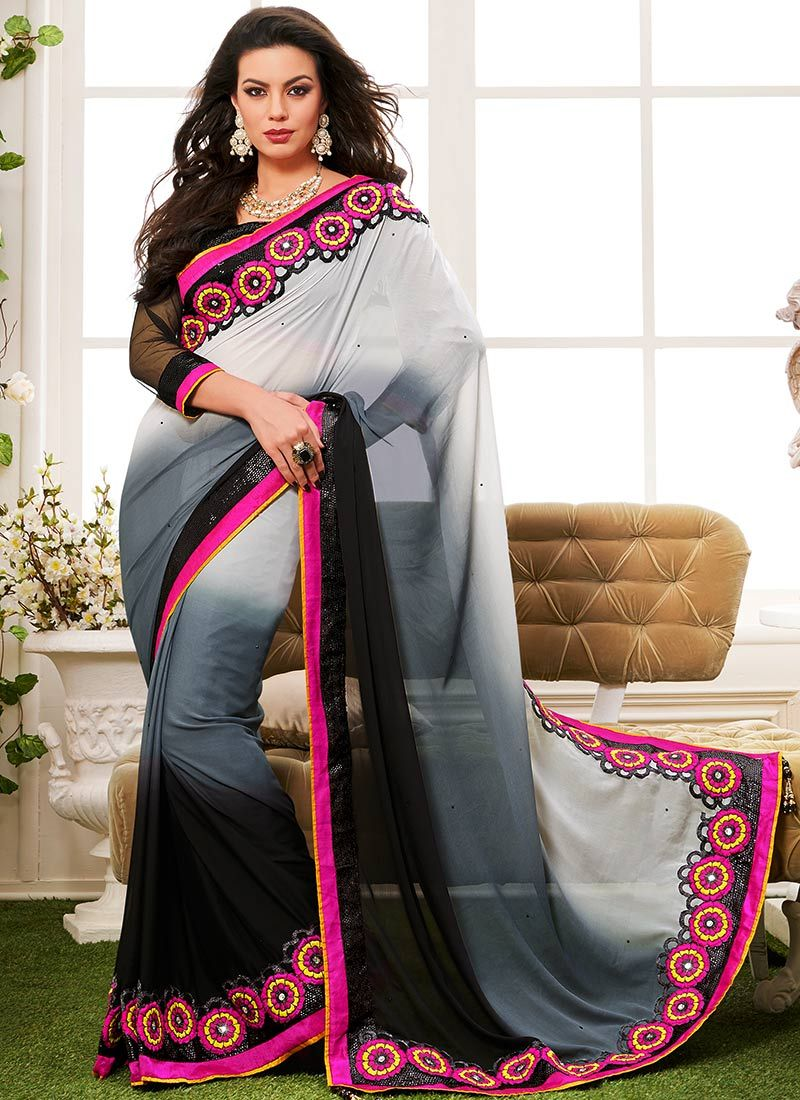 Ostentatious Black And Grey Georgette Saree