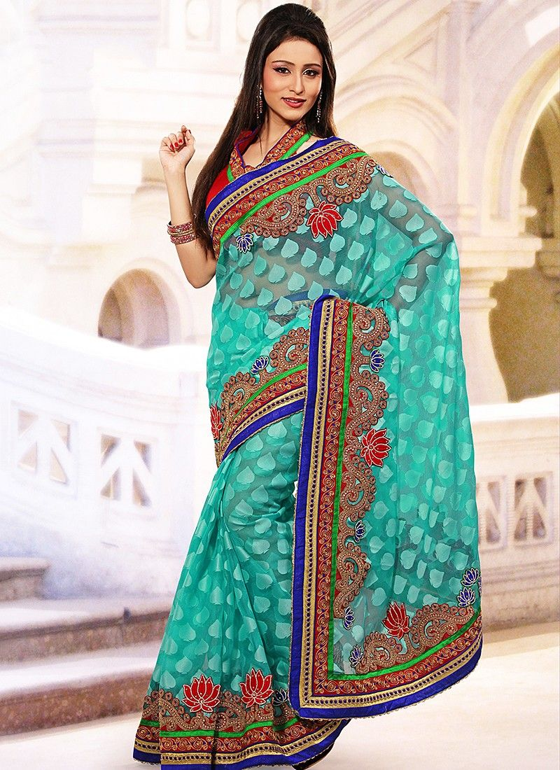 Aqua Blue Jacquard And Net Saree