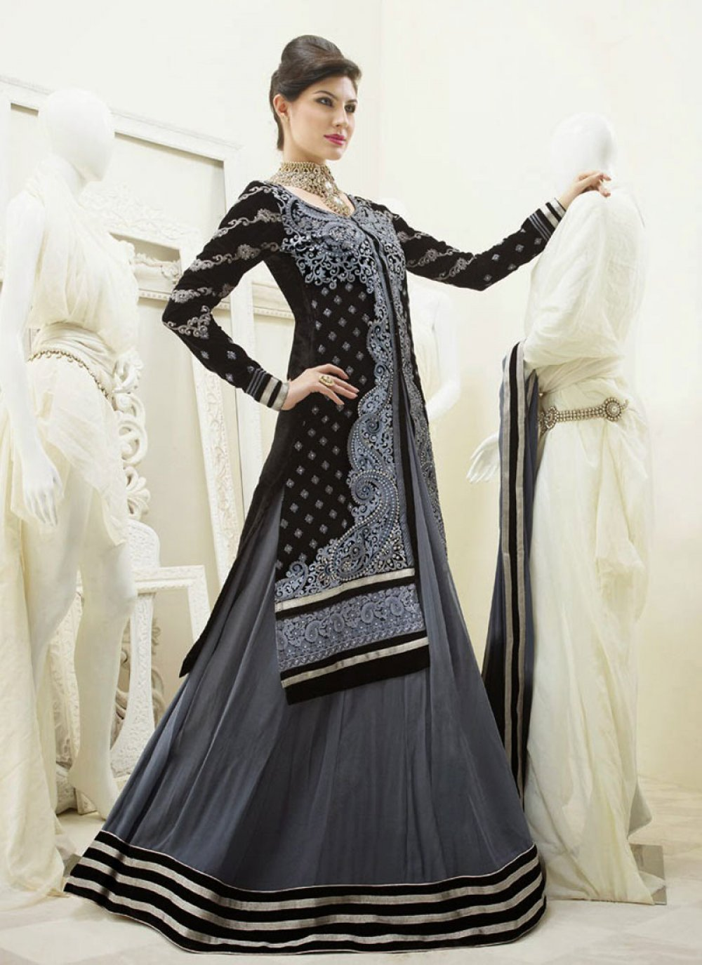 Black And Grey Resham Work Anarkali Suit