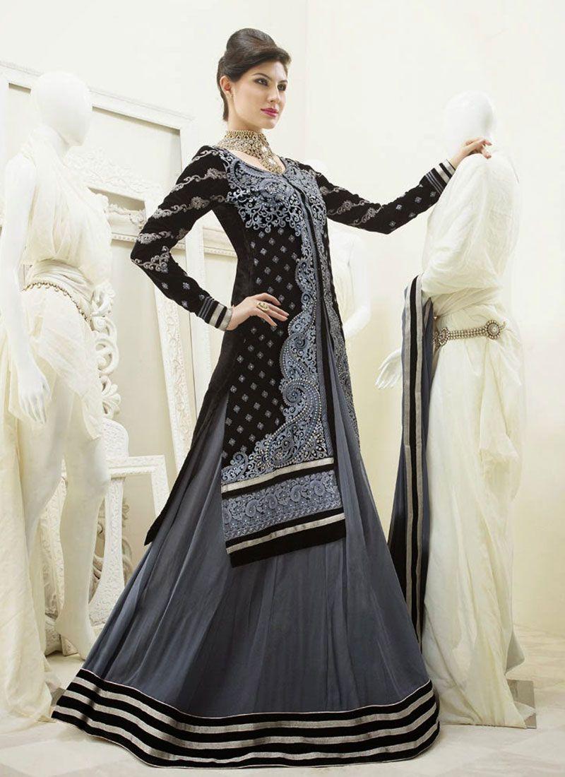 Black And Grey Resham Work Anarkali Suit