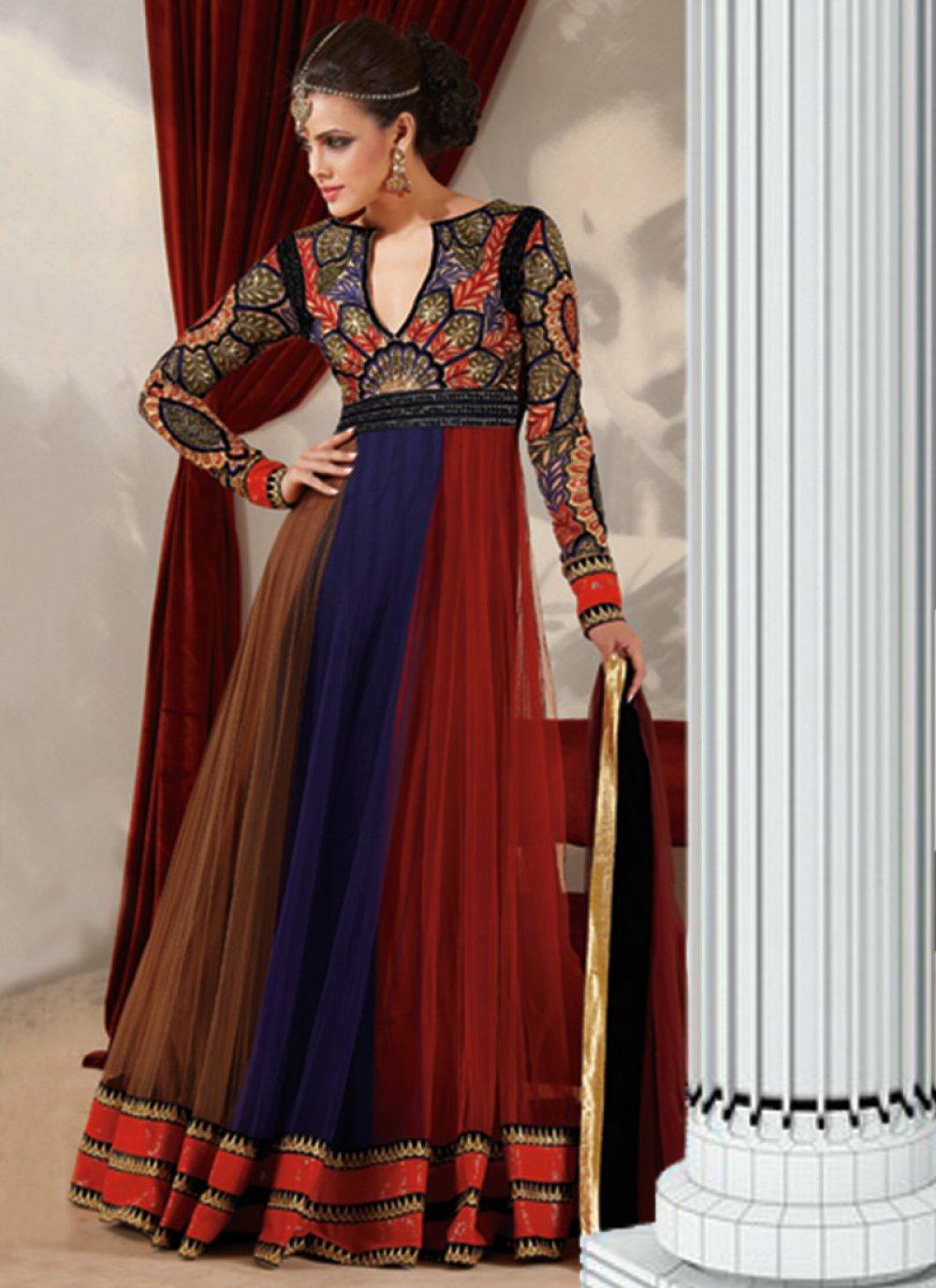 Brown And Blue Resham Work Designer Anarkali Suit