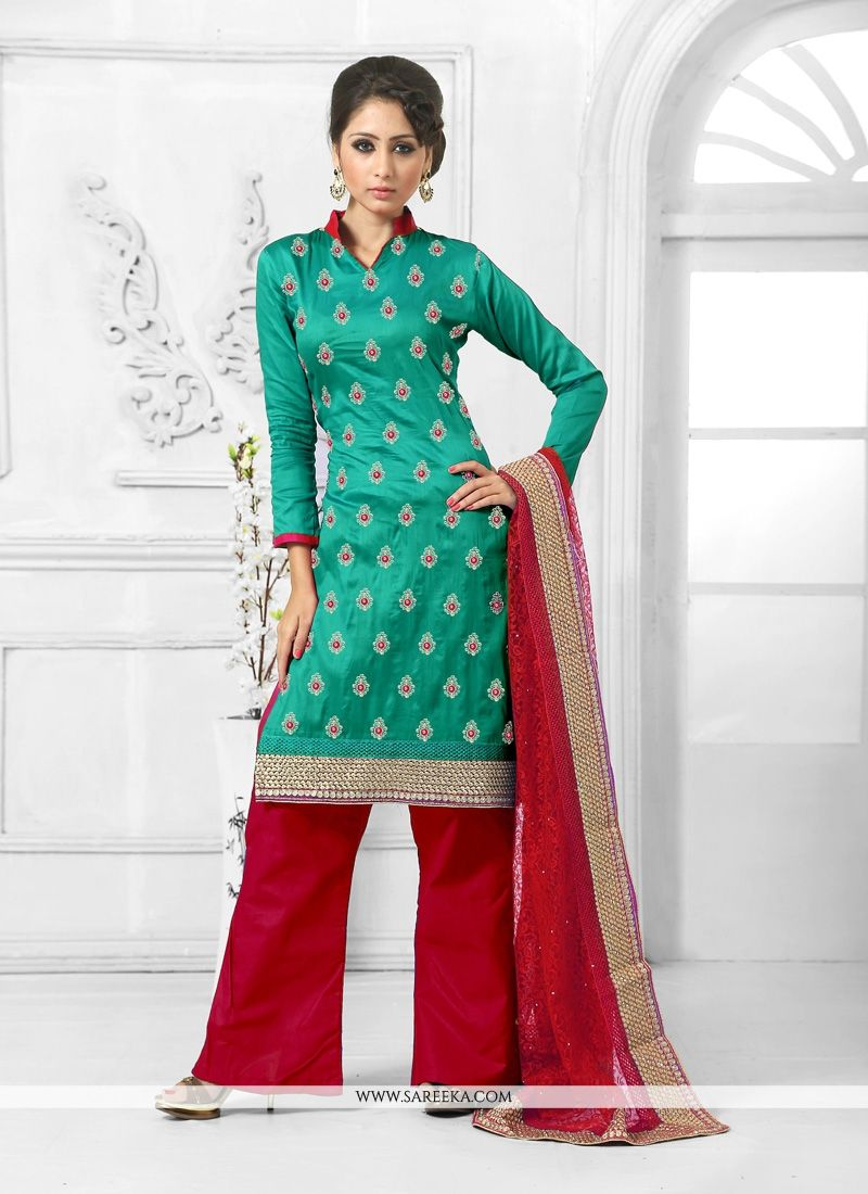 Cotton   Teal Designer Palazzo Salwar Suit
