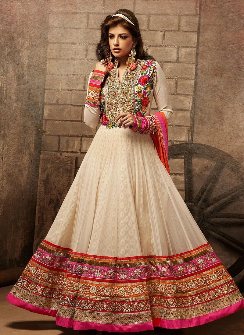 Cream Net Emroidered Work Anarkali Suit