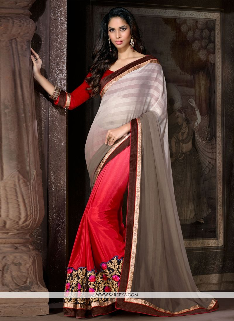 Faux Chiffon Red Designer Saree