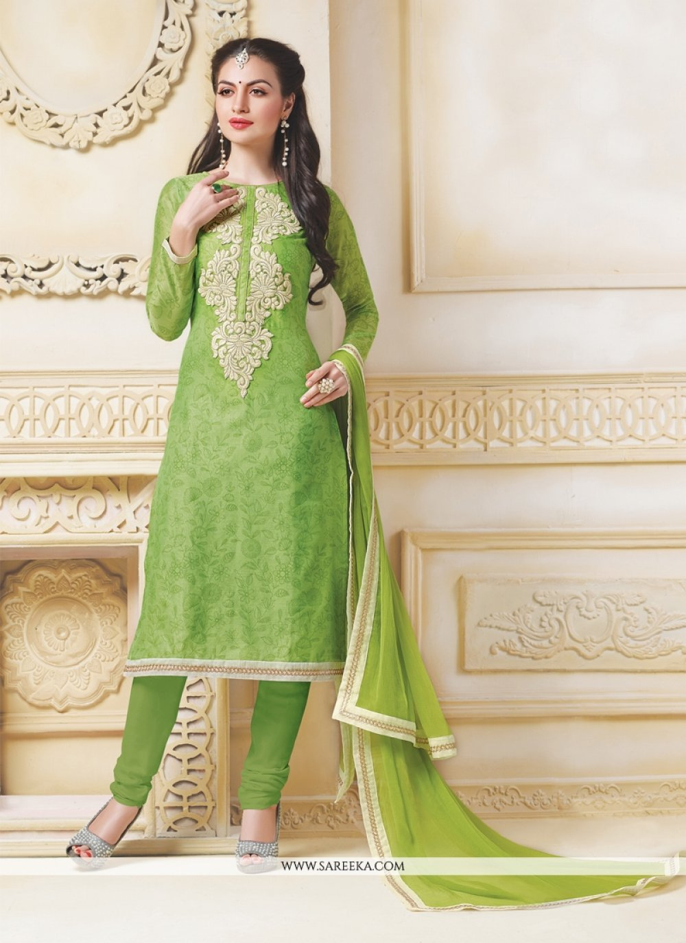 Green Embroidered Work Chanderi Churidar Salwar Kameez