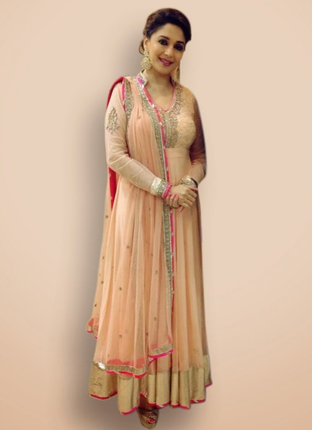 Madhuri Dixit Peach Sequins Work Designer Suit