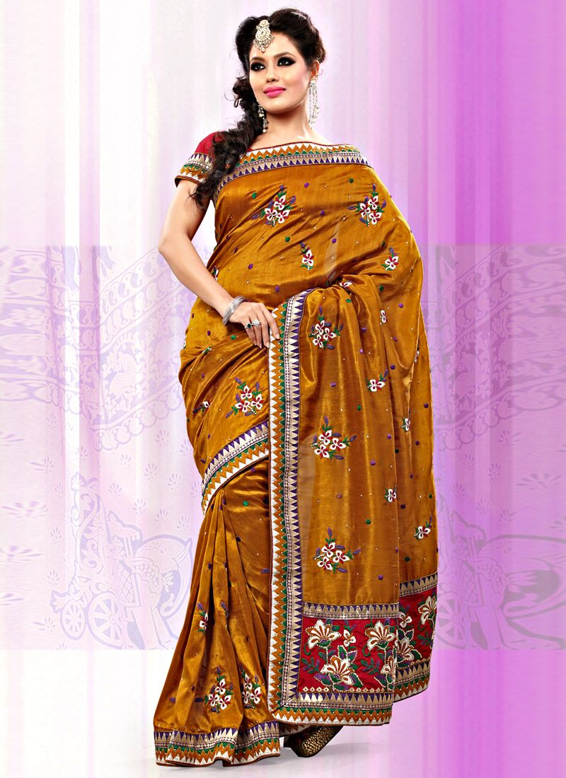 Mustard Art Bhagalpuri Silk Saree