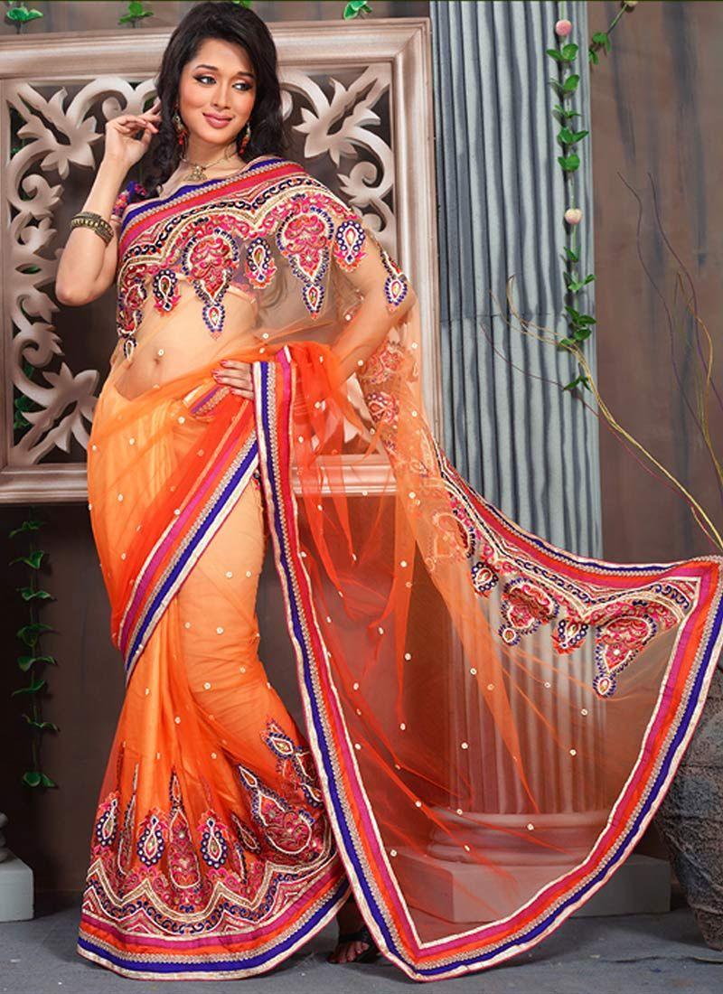 Orange Net Stylish Saree