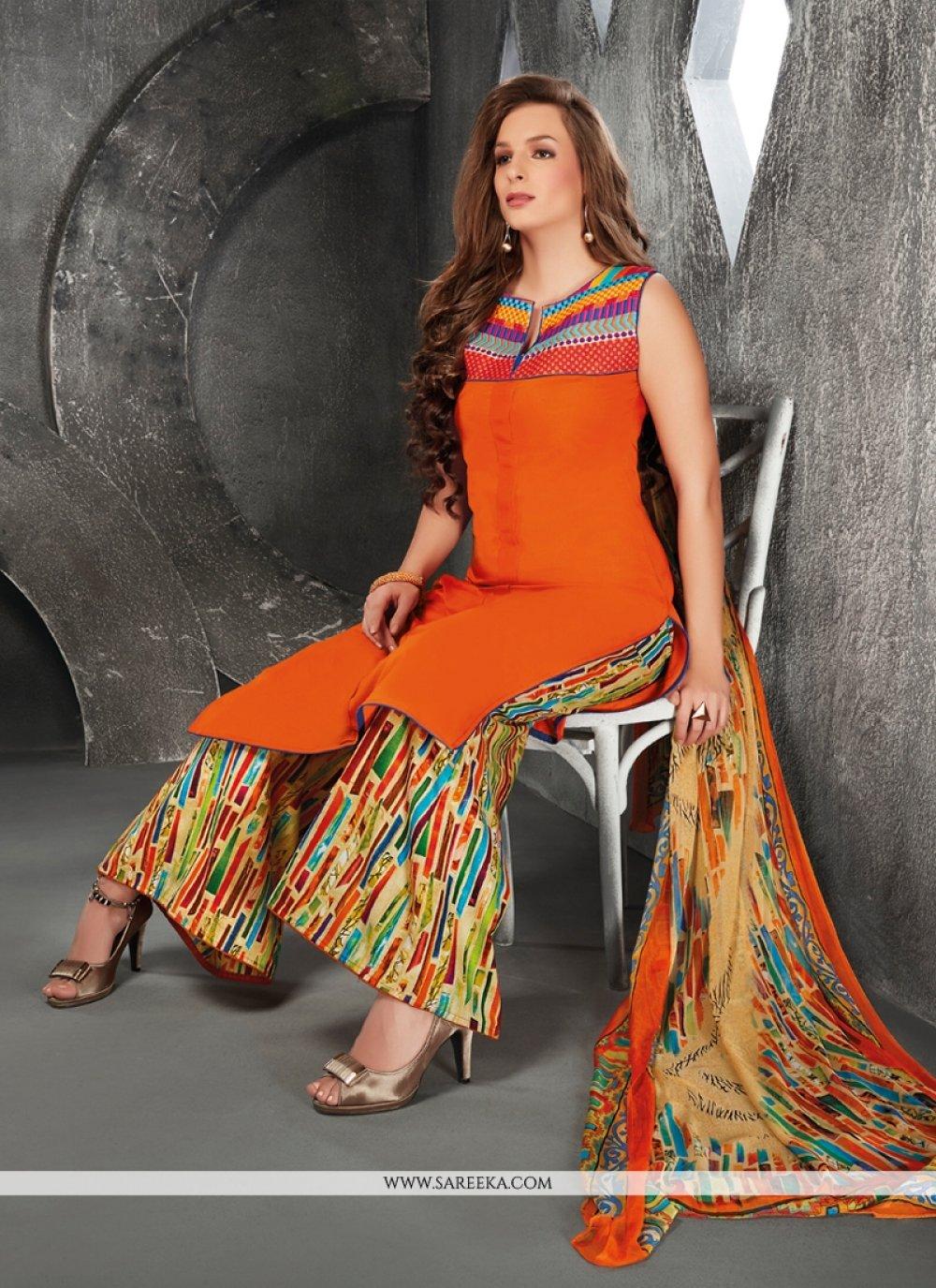 Orange Resham Work Designer Suit