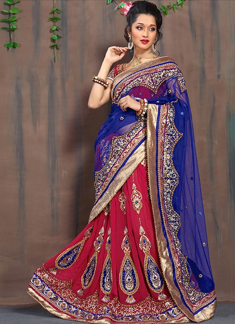 Red And Blue Faux Georgette Lehenga Saree